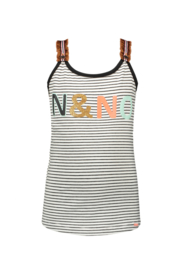 Nono kiddyB stirped singlet print and imi suede ruffles shoulder straps