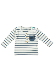 Bampidano baby boys t-shirt stripe fake placket + chect pocket