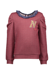 Nono kiss glitter sweater with ruffle neckline