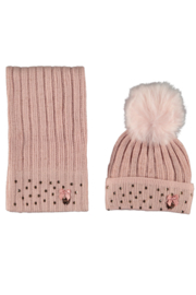 Le Chic knitted hat & scarf pink