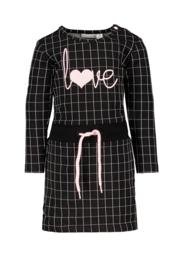 Bampidano baby girls sweat dress Celina check/allover print with rib waist black check