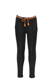 Nono seclerB check sweat pants with leopard piging at side seams