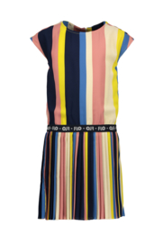 Flo girls multi stripe dress with plisse skirt