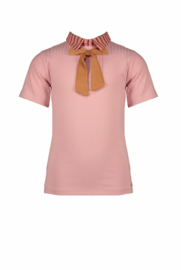 Nono rib tshirt with woven collar and bow