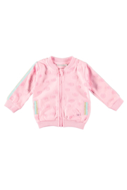 Bamidano baby girls baseball cardigan fancy fabric + knitted stripe tape