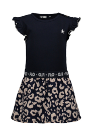 Flo baby girls ruffle jersey dress with ikat skirt