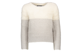 Flo Girls colour block hairy off white/grey melee sweater