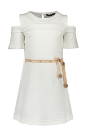 Nono maan embroidered dress with open shoulder
