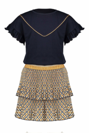 Nono combi dress bias check skirt with navy viscose jersey top