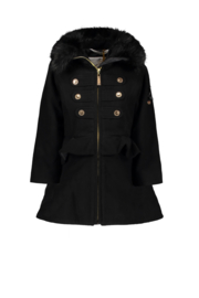 Le Chic felt coat with peplum & fur