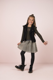 Flo girls jersey ruffle dress with striped mesh skirt