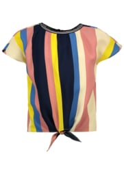 Flo girls multi stripe knotted top