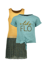 Flo girls 2pc lurex plisse dress with sweat melee top