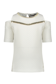 Nono kaya embroidered t-shirt with open shoulder