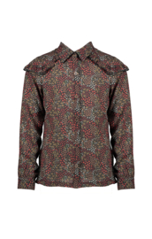 Nono tikky AOP flower blouse with ruffle detail at sleeve