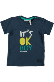 Bampidano baby boys t-shirt plain V-neck navy