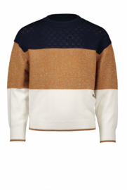 Nono colorblock sweater with pointelle knit at top