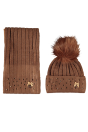 Le Chic baby knitted hat & scarf gold