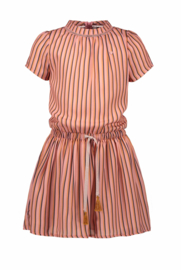 Nono Mirthe dress with crochettape at neck in AOP stripe