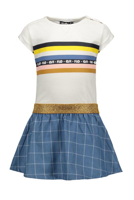 Flo baby girls slub jersey dress rainbow, check denim skirt