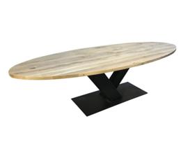 Eiken ovale tafel 4 cm dik blad en stalen V onderstel