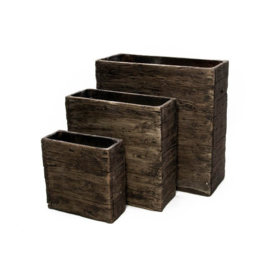 Cementpot driedelig (hout, recht)