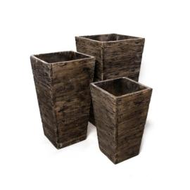 Cementpot in drie delen (hout, vierkant)