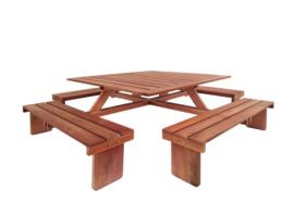 Hardhouten Picknicktafel Vierkant 210 x 210 x 75 cm