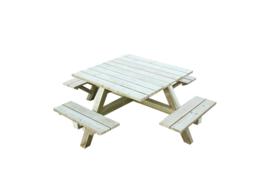 Design Vierkante Picknicktafel 215 x 215 cm Geïmpregneerd