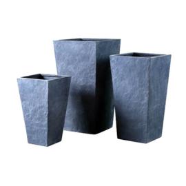 Cementpot driedelig (grijs, vierkant)