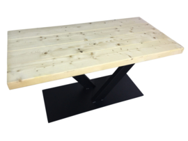 Industriële tafel balken met stalen V onderstel koker