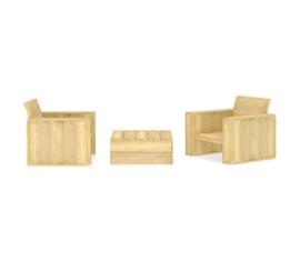 3-delige Loungeset geïmpregneerd grenenhout