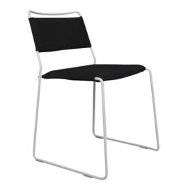 One Wire Chair - White Frame & black cushions