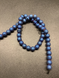 Agaat frosted met band 8 mm blauw