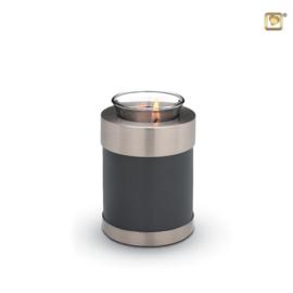 urn met kaarsje grijs/zilver