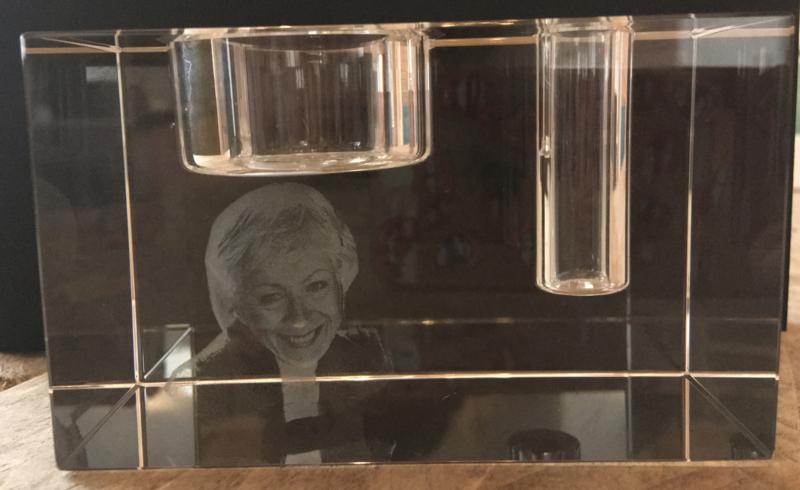foto in glas waxine/bloem