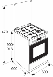 Pelgrim PFW8265WIT Multifunctioneel gas-elektrisch fornuis met wok 60 cm breed