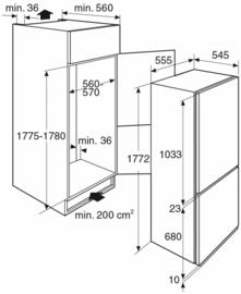 Pelgrim PCD5178N Inbouw Koel-vriescombinatie no-frost, Nis 178, deur-op-deurmontage, A++