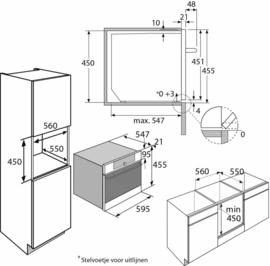 Pelgrim MAC524RVS Multifunctionele Inbouw Oven met magnetronfunktie, Nis 45 cm