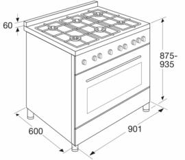 Pelgrim NF941MATA  Fornuis met multifunctionele oven 90 cm breed