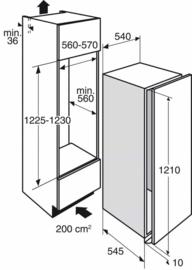 Pelgrim PKD5122K Inbouw Koelkast, Nis 122 cm, deur-op-deurmontage, A++