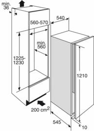 Pelgrim PKD5122V Inbouw Koelkast met vriesvak, Nis 122 cm, deur-op-deurmontage, A++