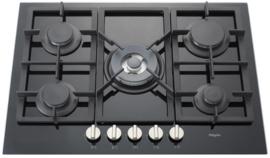 Pelgrim GK575ONYA Gas-op-glas kookplaat, 70 cm breed
