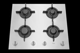 Pelgrim GK864RVSA Vlak RVS gaskookplaat met A+ branders, 60 cm breed