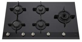 Pelgrim GK895ONYA Gas-op-glas kookplaat A+ branders, 90 cm breed
