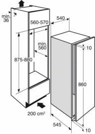 Pelgrim PKD5088V Inbouw Koelkast met vriesvak, Nis 88 cm, deur-op-deurmontage, A++