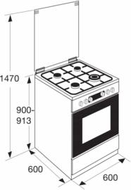 Pelgrim PFW8265RVS Multifunctioneel gas-elektrisch fornuis met wok 60 cm breed