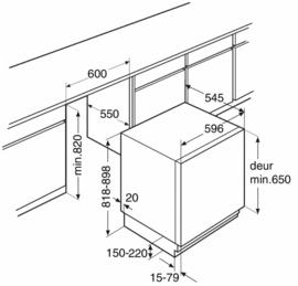Pelgrim OVG260 Onderbouw Vrieskast, deur-op-deurmontage, A++