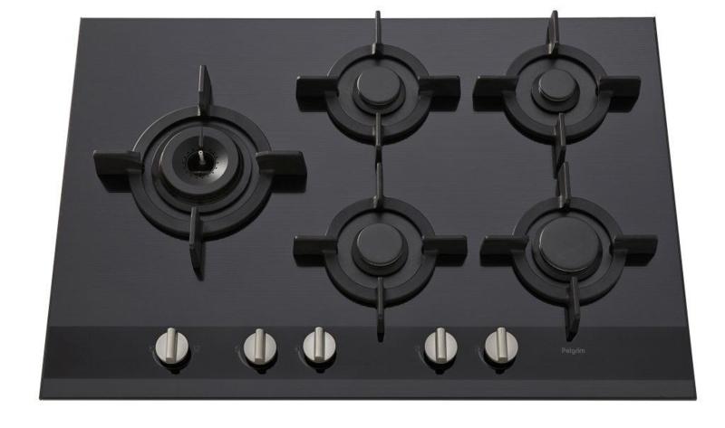 Pelgrim GK875ONYA Gas-op-glas kookplaat A+ branders, 75 cm breed