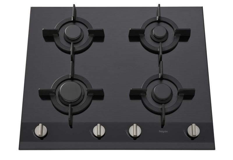 Pelgrim GK864ONYA Gas-op-glas kookplaat A+ branders, 60 cm breed